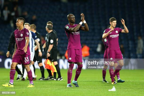 Eliaquim Mangala of Manchester City shows appreciation to the fans after the Carabao Cup Third Round match between West Bromwich Albion and...