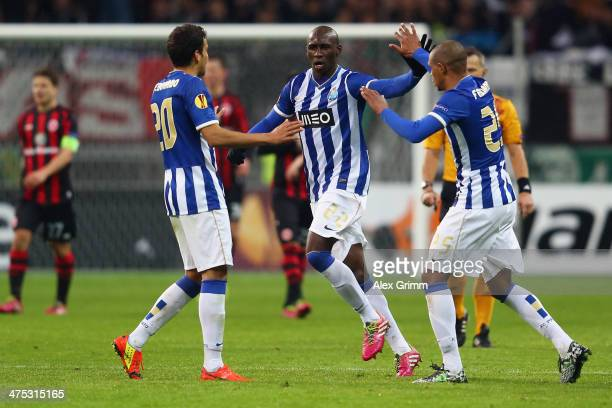 Eliaquim Mangala of Porto celebrates his team's second goal with team mates Carlos Eduardo and Fernando during the UEFA Europa League Round of 32...