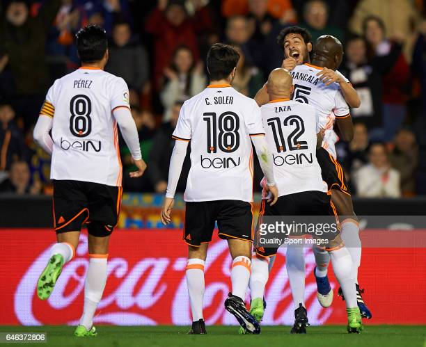 Eliaquim Mangala of Valencia celebrates with his teammates after scoring the first goal during the La Liga match between Valencia CF and CD Leganes...