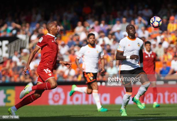 Eliaquim Mangala of Valencia CF and Steven N'Zonzi of Sevilla FC during their La Liga match between Valencia CF and Sevilla FC at the Mestalla...