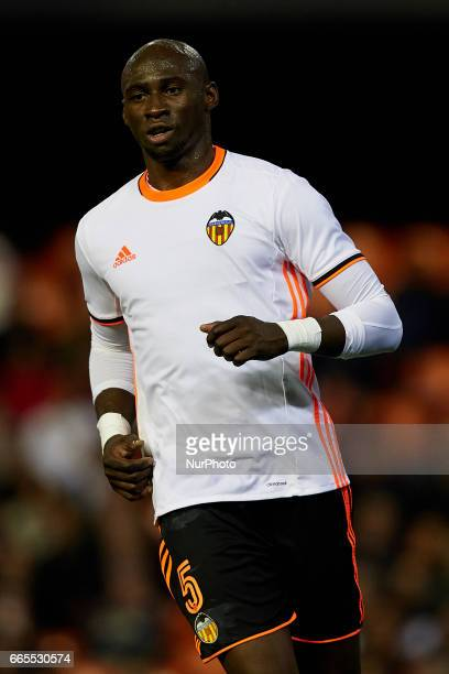 Eliaquim Mangala of Valencia CF looks on during the La Liga match between Valencia CF and Real Club Celta de Vigo at Mestalla Stadium on April 6 2017...