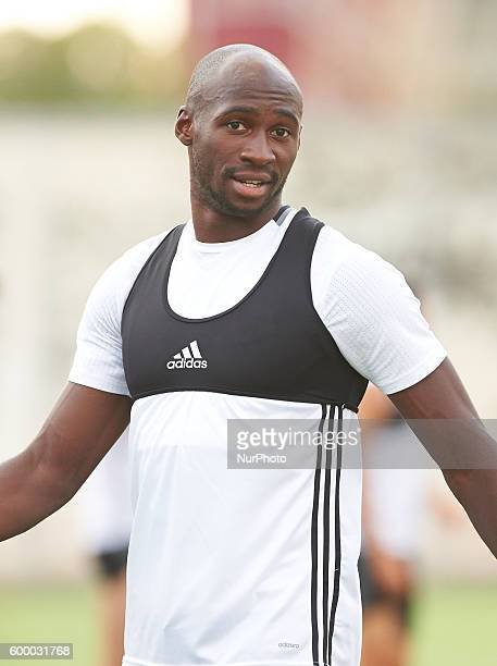 Eliaquim Mangala of Valencia CF warms up during a training session at Ciudad Deportiva training ground on September 7 2016 in Valencia Spain