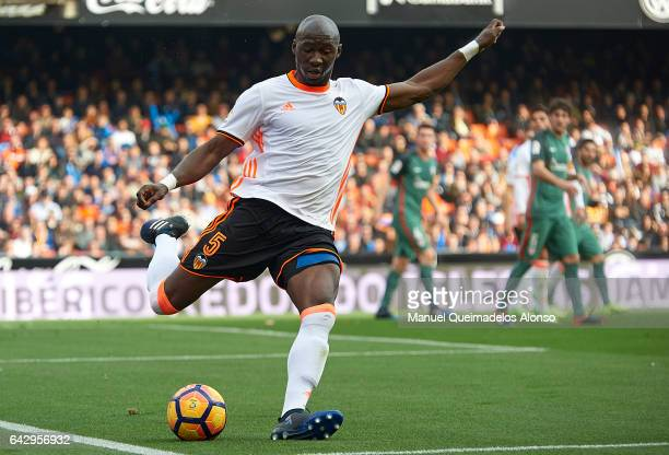 Eliaquim Mangala of Valencia in action during the La Liga match between Valencia CF and Athletic Club at Mestalla Stadium on February 19 2017 in...