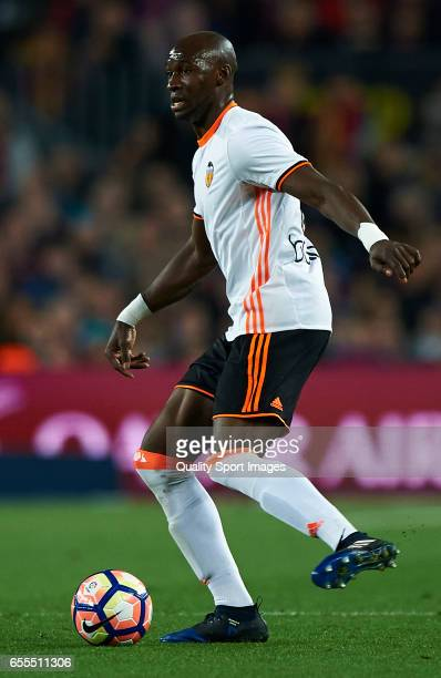 Eliaquim Mangala of Valencia in action during the La Liga match between FC Barcelona and Valencia CF at Camp Nou Stadium on March 19 2017 in...