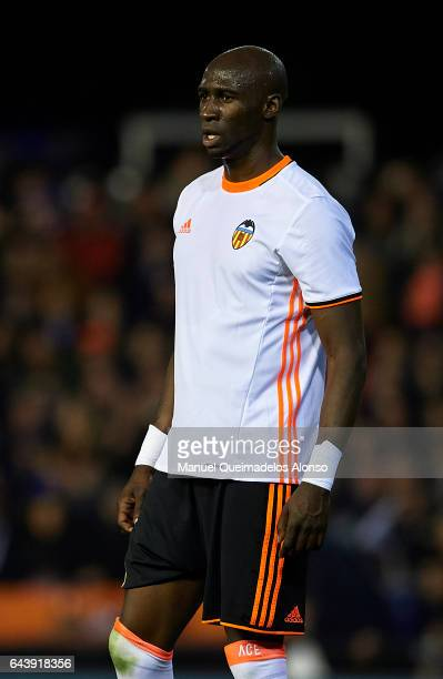 Eliaquim Mangala of Valencia looks on during the La Liga match between Valencia CF and Real Madrid at Mestalla Stadium on February 22 2017 in...