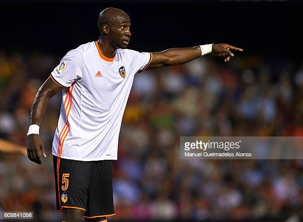 Eliaquim Mangala of Valencia reacts during the La Liga match between Valencia CF and Deportivo Alaves at Mestalla Stadium on September 22 2016 in...