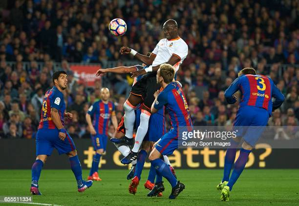 Eliaquim Mangala of Valencia scores his team's first goal during the La Liga match between FC Barcelona and Valencia CF at Camp Nou Stadium on March...