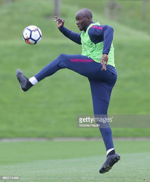 Eliaquim Mangala on the ball during training at Manchester City Football Academy on October 11 2017 in Manchester England
