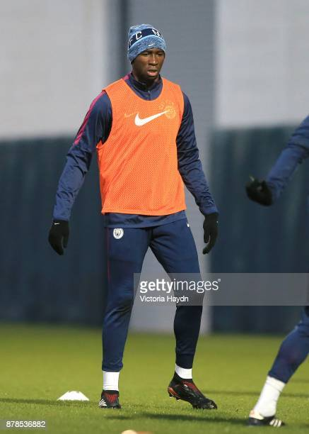 Eliaquim Mangala reacts during training at Manchester City Football Academy on November 24 2017 in Manchester England