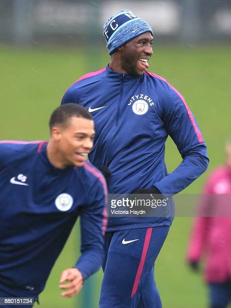 Eliaquim Mangala reacts during training at Manchester City Football Academy on November 27 2017 in Manchester England