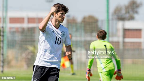 Elias Abouchabaka of Germany celebrates his goal during the UEFA U17 elite round match between Germany and Armenia on March 23 2017 in Manavgat Turkey