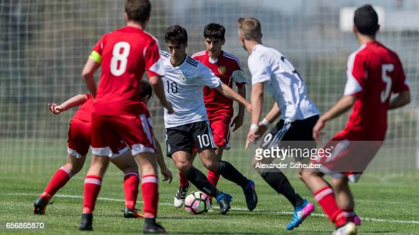 Elias Abouchabaka of Germany in action during the UEFA U17 elite round match between Germany and Armenia on March 23 2017 in Manavgat Turkey