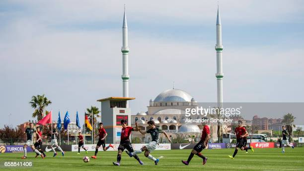 Elias Abouchabaka of Germany in action during the UEFA U17 elite round match between Germany and Turkey on March 28 2017 in Manavgat Turkey