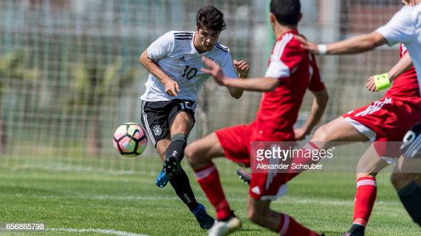 Elias Abouchabaka of Germany scores a goal during the UEFA U17 elite round match between Germany and Armenia on March 23 2017 in Manavgat Turkey