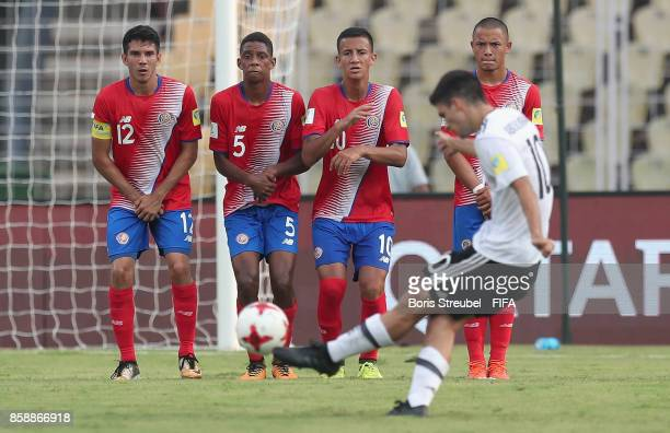Elias Abouchabaka of Germany takes a free kick during the FIFA U17 World Cup India 2017 group C match between Germany and Costa Rica at Pandit...