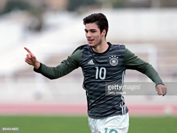 Elias Abouchabaka of Germany U17 celebrates the goal during the Algarve International Tournament U17 Match between Netherlands U17 and Germany U17 on...