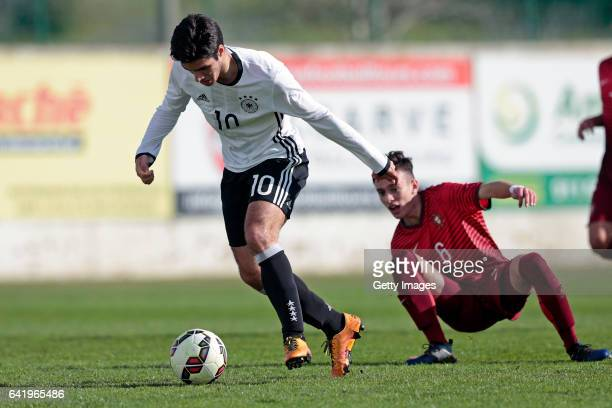 Elias Abouchabaka of Germany U17 challenges Afonso Sousa of Portugal U17 during the U17 Algarve Cup Tournament Match between Portugal U17 and germany...