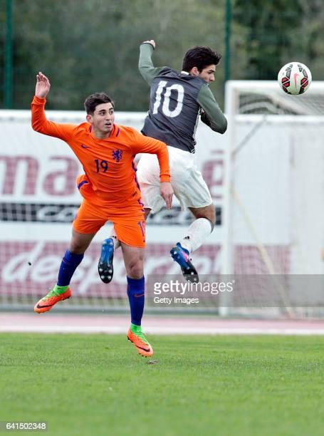 Elias Abouchabaka of Germany U17 challenges Dogucan Haspolat of Netherlands U17 during the 40º Algarve International Tournament U17 Match between...