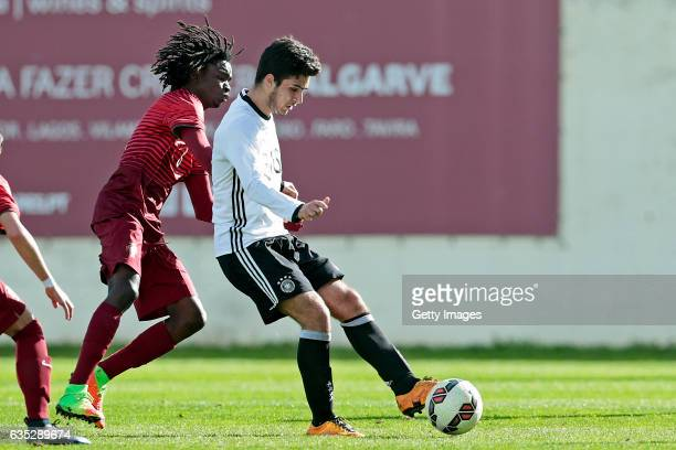 Elias Abouchabaka of Germany U17 challenges Romario Baro of Portugal U17 during the U17 Algarve Cup Tournament Match between Portugal U17 and Germany...
