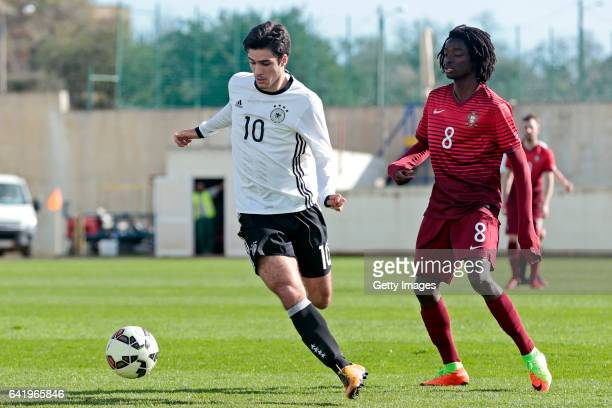 Elias Abouchabaka of Germany U17 challenges Romário Baró of Portugal U17 during the U17 Algarve Cup Tournament Match between Portugal U17 and germany...
