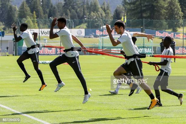 Elias Abouchabaka of RB Leipzig Bernardo of RB Leipzig controls the ball during the Training Camp of RB Leipzig on July 21 2017 in Seefeld Austria