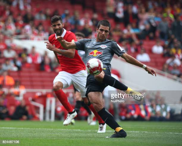 Elias Abouchabaka of RB Leipzig during Emirates Cup match between RB Leipzig against Benfica at The Emirates Stadium in north London on July 30 the...