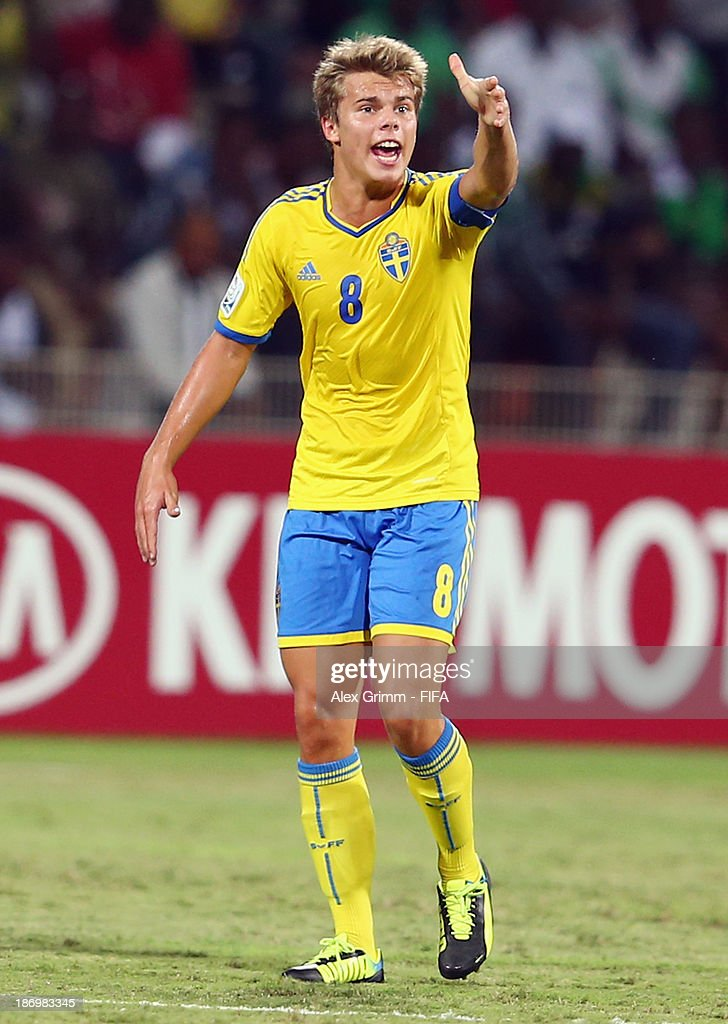 Elias Andersson of Sweden reacts during the FIFA U-17 World Cup UAE 2013 Semi Final match between Sweden and Nigeria at Al Rashid Stadium on November 5, 2013 in Dubai, United Arab Emirates.