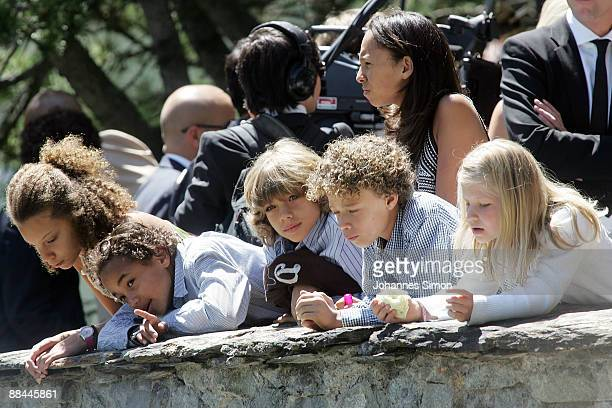 Elias Becker and other guest children look on after the wedding of his father former tennis star Boris Becker and his new wife Sharlely Kerssenberg...