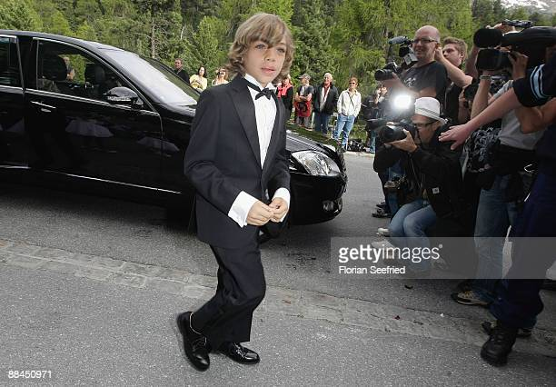 Elias Becker younger son of former tennis star Boris Becker arrives for the church wedding of his father to Sharlely Kerssenberg at the Regina Pacis...