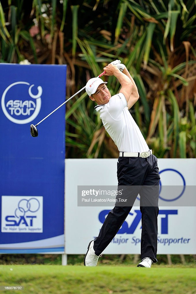 Elias Bertheseussen of Norway plays a shot during round four of the Asian Tour Qualifying School Final Stage at Springfield Royal Country Club on January 26, 2013 in Hua Hin, Thailand.
