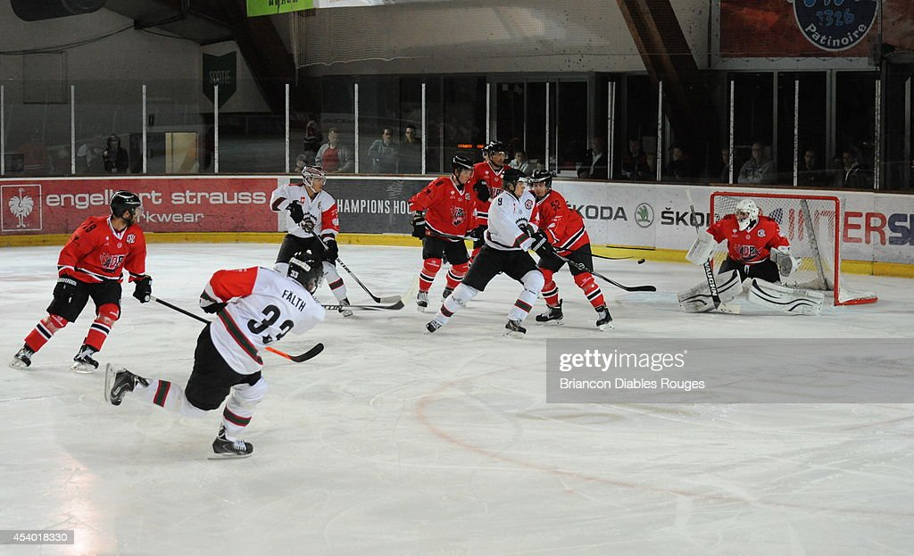 #33 Elias Faelth of Frolunda Gothenburg scores during the Champions Hockey League group stage game between Briancon Diables Rouges and Frolunda Gothenburg on August 23, 2014 in Briancon, France.