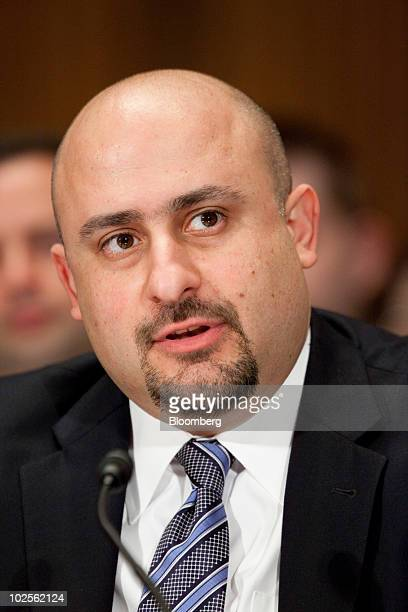 Elias Habayeb former senior vice president and chief financial officer of financial services with American International Group Inc speaks during a...