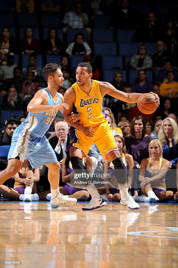 <a gi-track='captionPersonalityLinkClicked' href=/galleries/search?phrase=Elias+Harris&family=editorial&specificpeople=6164446 ng-click='$event.stopPropagation()'>Elias Harris</a> #2 of the Los Angeles Lakers dribbles in the post against the Denver Nuggets at Citizens Business Bank Arena on October 8, 2013 in Ontario, California.