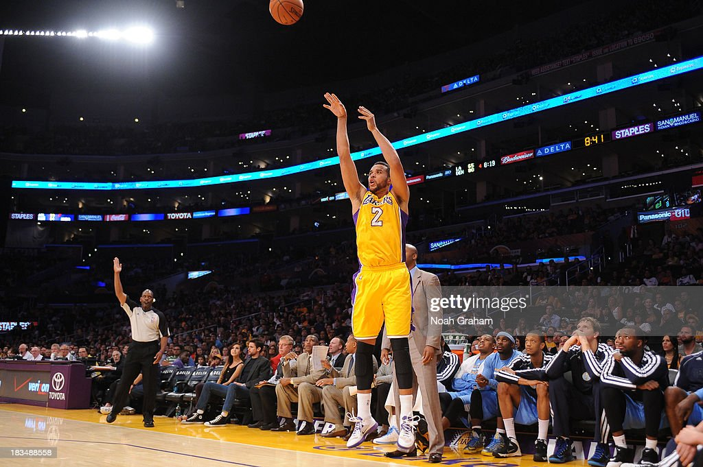 <a gi-track='captionPersonalityLinkClicked' href=/galleries/search?phrase=Elias+Harris&family=editorial&specificpeople=6164446 ng-click='$event.stopPropagation()'>Elias Harris</a> #2 of the Los Angeles Lakers shoots a three pointer during a game against the Denver Nuggets at STAPLES Center on October 10, 2013 at in Los Angeles, California.