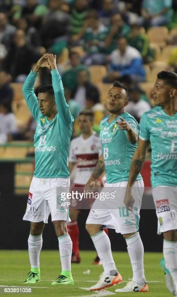 Elias Hernandez of Leon celebrates his goal against Tijuana dduring their Mexican Clausura 2017 tournament football match at Nou Camp stadium in Leon...