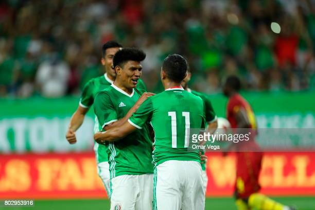 Elias Hernandez of Mexico celebrates after scoring the opening goal during the friendly match between Mexico and Ghana at NRG Stadium on June 28 2017...