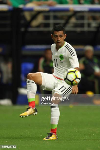 Elias Hernandez of Mexico controls the ball during a Group C match between Mexico and Curacao as part of CONCACAF Gold Cup 2017 at the Alamodome on...