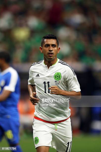Elias Hernandez of Mexico looks on during a Group C match between Mexico and Curacao as part of CONCACAF Gold Cup 2017 at the Alamodome on July 16...