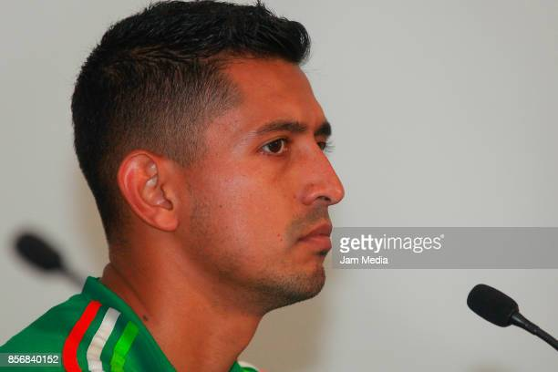 Elias Hernandez of Mexico looks on during a press conference after a training session at CAR on October 02 2017 in Mexico City Mexico