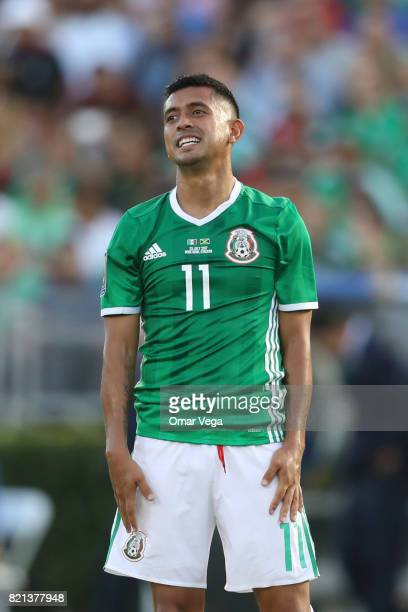 Elias Hernandez of Mexico reacts during a match between Mexico and Jamaica as part of CONCACAF Gold Cup Semifinal at Rose Bowl Stadium on July 23...
