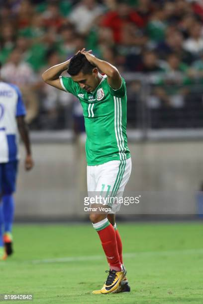 Elias Hernandez of Mexico reacts during the CONCACAF Gold Cup 2017 quarterfinal match between Mexico and Honduras at University of Phoenix Stadium on...
