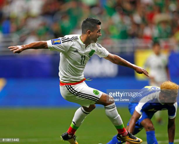 Elias Hernandez of Mexico shoots on goal against Curaco in the second half during the 2017 CONCACAF Gold Cup at Alamodome on July 16 2017 in San...