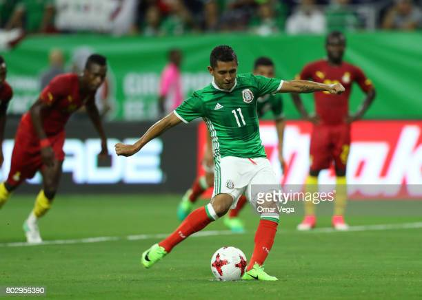 Elias Hernandez of Mexico takes a penalty kick during the friendly match between Mexico and Ghana at NRG Stadium on June 28 2017 in Houston Texas