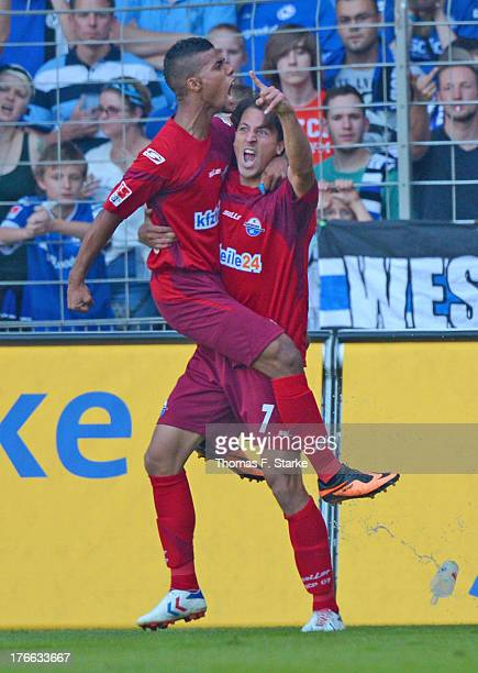 Elias Kachunga and Jens Wemmer of Paderborn celebrate their teams second goal during the Second Bundesliga match between Arminia Bielefeld and SC...