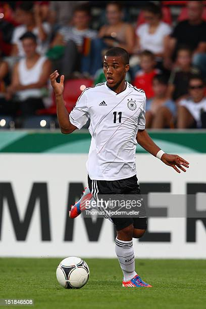 Elias Kachunga of Germany runs with the ball during the Under 20 International Friendly match between Germany and Poland at the comtech Arena on...