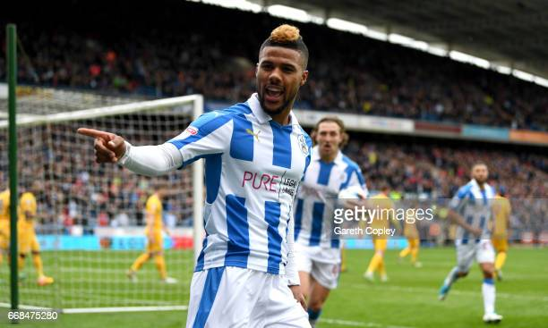 Elias Kachunga of Huddersfield celebrates scoring his team's first goal during the Sky Bet Championship match between Huddersfield Town and Preston...