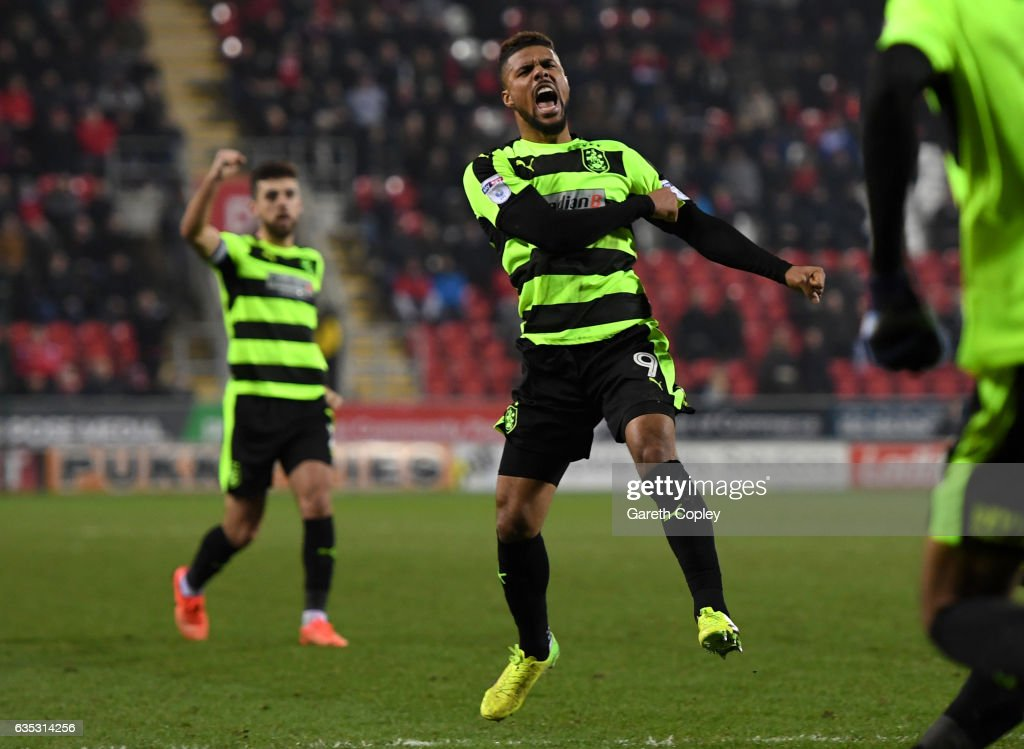 Elias Kachunga of Huddersfield celebrates scoring his team's second goal during the Sky Bet Championship match between Rotherham United and Huddersfield Town at The New York Stadium on February 14, 2017 in Rotherham, England.