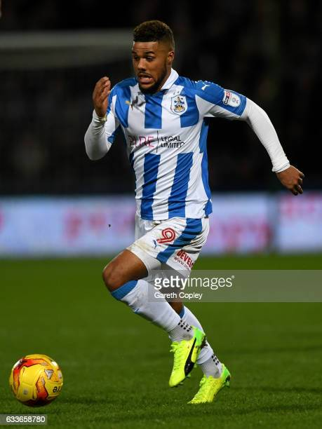 Elias Kachunga of Huddersfield during the Sky Bet Championship match between Huddersfield Town and Brighton Hove Albion at Galpharm Stadium on...