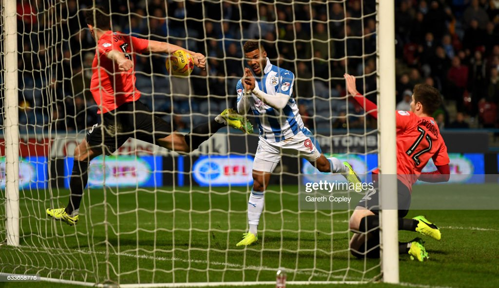 Elias Kachunga of Huddersfield scores his team's 3rd goal during the Sky Bet Championship match between Huddersfield Town and Brighton & Hove Albion at Galpharm Stadium on February 2, 2017 in Huddersfield, England.