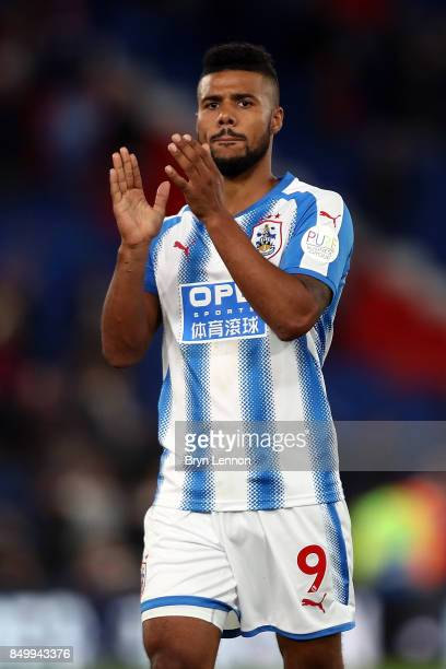 Elias Kachunga of Huddersfield Town acknowledges the fans after the Carabao Cup Third Round match between Crystal Palace and Huddersfield Town at...